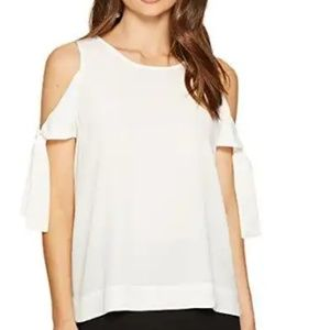 1 State womens cold shoulder blouse W/ sleeve ties